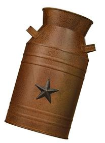 Craft Outlet Milk Can Container with Star Attached, 10.5-