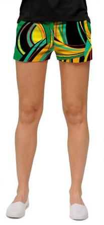 Loudmouth Golf Womens Mini Shorts: Bent Grass - Size 0
