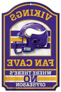 "NFL Minnesota Vikings 05504013 Wood Sign, 11"" x 17"", Black"