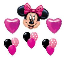 Minnie Mouse Pink Polka Dot Heart Mylar Latex Birthday