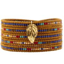 Chan Luu Mix Seed Bead Bracelet on Henna Leather with Gold