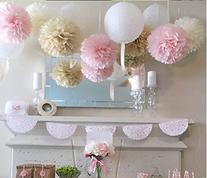 Mixed Color Fluffy Tissue Paper Pom Pom Flower Balls Wedding