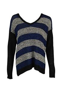 Kensie Women's Mixed Tape Yarn Striped Sweater, Striking