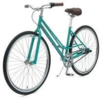 Mixte 3-Speed City Coaster Commuter Bicycle, Turquoise,