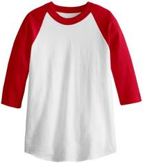 MJ Soffe Kid's 3/4 Sleeve Baseball Jersey, Small, Red