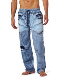 MJC International Men's Generic Faux Denim Pajama Pant, Blue