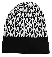 Michael Kors Women's MK Logo Knitted Beanie Hat, Black/White
