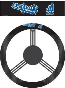 MLB L.A. Dodgers Black Poly Suede & Mesh Steering Wheel