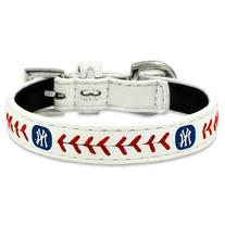 MLB New York Yankees Classic Leather Baseball Dog Collar