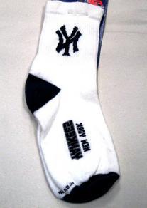 MLB New York Yankees Men's Quarter Socks, Large, White