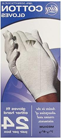 CARA  Dermatological Cotton Gloves, Medium, 24 Pair
