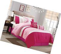 Modern 7 Piece Bedding Hot Pink Light Pink White Pin Tuck