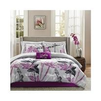 Modern Contemporary Purple Girls Floral Comforter Bedding