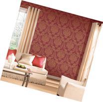 Modern Louis Red / Gold Victorian Foil Damask Wallpaper For