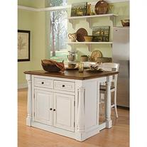 Home Styles Monarch 3 Piece Kitchen Island & Stool Set