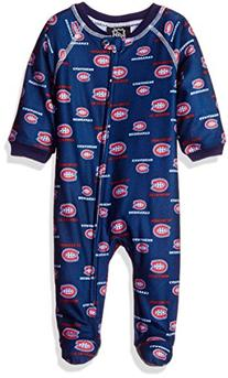 NHL Montreal Canadiens Newborn Boys Sleepwear All Over Print Zip Up Coveralls, 0-3 Months, True Navy
