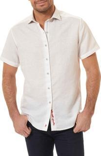 Men's Robert Graham Morley Sport Shirt, Size Large - White