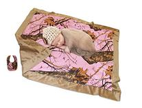 Mossy Oak Pink Baby Blanket + Bib Super Soft Gift Set