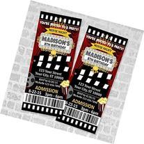 Movie Ticket Birthday Party Invitation, Custom Movie Night