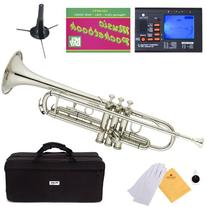 Mendini MTT-N Nickel Plated Bb Trumpet + Tuner, Case, Stand