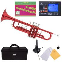 Mendini MTT-RL Red Lacquer Brass Bb Trumpet + Tuner, Case,