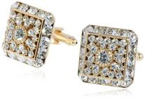 Stacy Adams Men's Multi Crystal Cuff Link, Gold, One Size