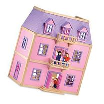 Melissa & Doug Multi-Level Solid Wood Dollhouse w/ Family of