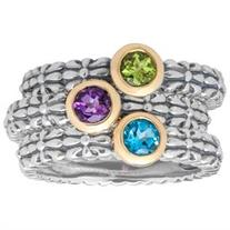 3/4 ct Multi-Stone Stackable Ring Set in Sterling Silver &