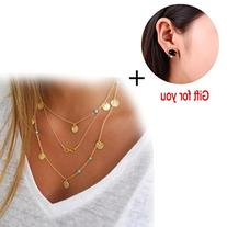 TOOPOOT Women Multilayer Irregular Paillette Bead Chain