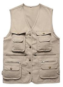 Wantdo Men's Multiple Pockets Cotton Safari Traveling Vest