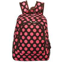 World Traveler Multipurpose Backpack 16-Inch, Brown Pink Dot