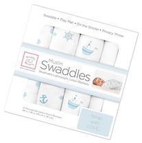 SwaddleDesigns Cotton Muslin Swaddle Blankets, Set of 4,