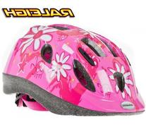 Raleigh Mystery Pink Flowers Girls Helmet - Small 48 - 54cm