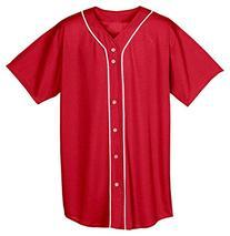 A4 N4184 Adult Short Sleeve Full Button Baseball Top -