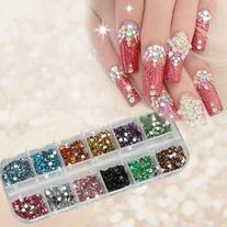 1200pcs New Nail Art Rhinestones Glitters Acrylic Tips