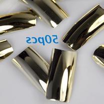 350BUY Nail Art tip Golden Metallic 10 Different Sizes