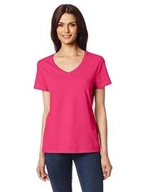 Hanes Women's Nano Premium Cotton V-Neck Tee, Wow Pink, X-