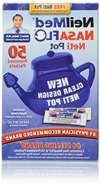 NeilMed NasaFlo Unbreakable Neti Pot with 50 Premixed
