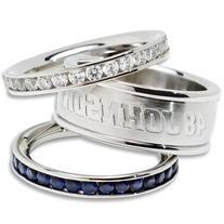 Jimmie Johnson #48 Logo Crystal Stacked Ring Set