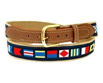 Nautical Belts, Code Flags on Khaki Web 34