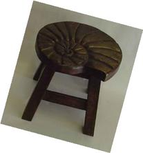 Nautilus Shell Hand Carved Wooden Foot Stool in Dark Stain