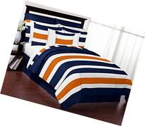 Sweet Jojo Designs Navy Blue, Orange and White Stripe 4