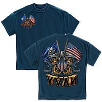Navy Double Flag Eagle Shield T-Shirt by Erazor Bits, Navy