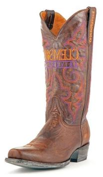 NCAA Clemson Tigers Men's Board Room Style Boots, Brass, 8 D