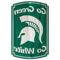 """NCAA Michigan State Spartans 11"""" x 17"""" Wood Sign"""