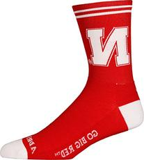 NCAA Nebraska Cornhuskers Cycling/Running Socks, Red, Large/