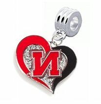 Nebraska Huskers Swirl Heart Charm with Connector -