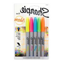 Sharpie Neon Permanent Markers, Fine Point, Assorted Colors