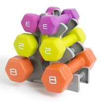 Tone Fitness Neoprene Dumbbell Set with Rack, 32 lb