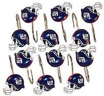 New York GIANTS NFL Set Bathroom Shower Curtain Hooks Rings